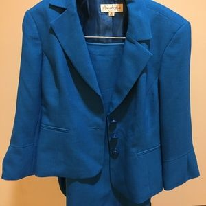 Vibrant Blue Evan Picone Skirt Suit and Jacket